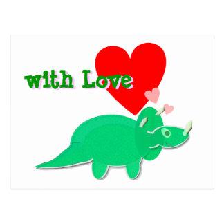 愛かわいい恐竜のトリケラトプスの郵便はがきを使って ポストカード