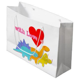 愛かわいい漫画の恐竜を使って ラージペーパーバッグ