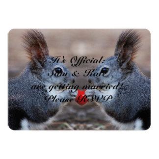 愛かわいい結婚式招待状のリス カード