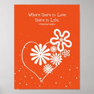 愛がある一方、生命があります。 花及びハート ポスター