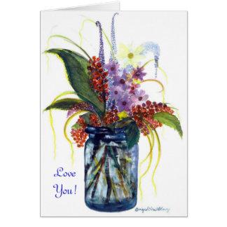 愛して下さい! 青い瓶の私の絵画の果実 カード