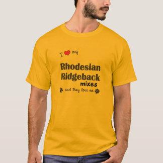 愛して下さいRhodesian私のRidgebackの組合せ(多数犬)を Tシャツ