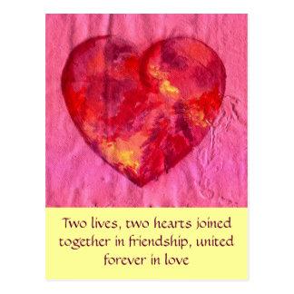 愛で結合されるハート ポストカード