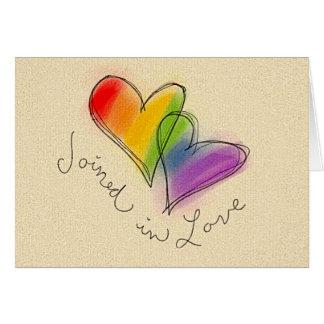 愛で結合される虹のハート カード