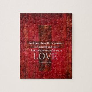 愛についての1つのCorinthiansの13:13の聖書の詩 ジグソーパズル