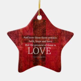 愛についての1つのCorinthiansの13:13の聖書の詩 セラミックオーナメント