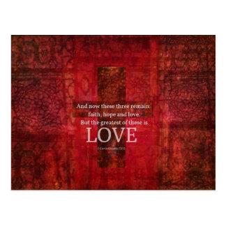 愛についての1つのCorinthiansの13:13の聖書の詩 ポストカード