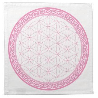 愛のための生命水晶格子のピンクのケルト族の花 ナプキンクロス