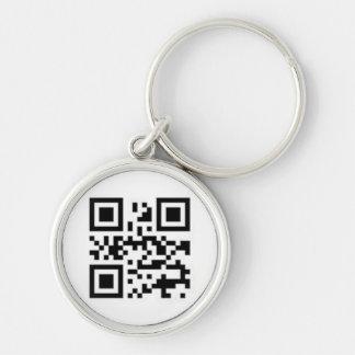 愛のためのQRコード シルバーカラー丸型キーホルダー
