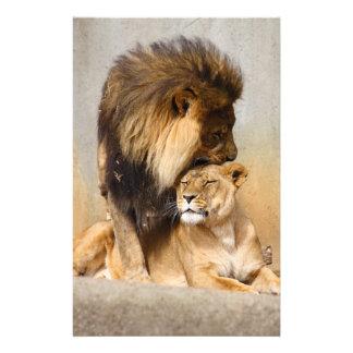 愛のオスおよびメスのライオン 便箋