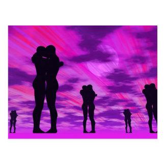 愛のカップル- 3Dは描写します はがき
