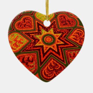 「愛のスターバスト」オーナメント 陶器製ハート型オーナメント