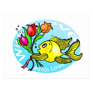 愛のバレンタインの魚によってはかわいいおもしろいの漫画が開花します ポストカード