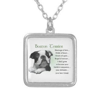 愛のボストンテリアの子犬の伝統 シルバープレートネックレス