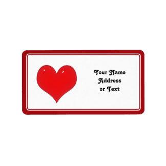 愛の光沢がある赤いハート ラベル