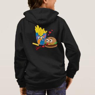 愛の子供のハンバーガー及び揚げ物はスエットシャツのファスナーを締めます パーカ