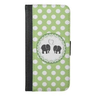 愛の水玉模様のかわいく粋でガーリーな象 iPhone 6/6S PLUS ウォレットケース