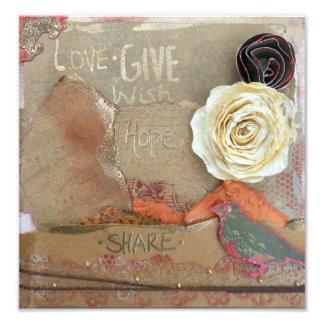 愛の混合メディアの芸術は、与えましたり、望みましたり、共有します 写真