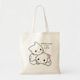 愛の男の子および女の子の子ネコのかわいいスケッチ トートバッグ
