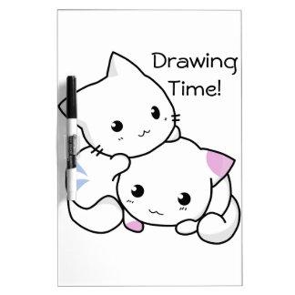 愛の男の子および女の子の子ネコのかわいいスケッチ ホワイトボード