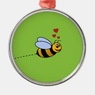 愛の蜂 シルバーカラー丸型オーナメント