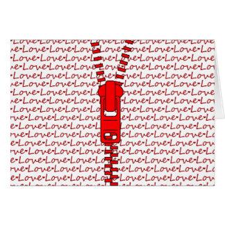 愛の赤いジッパー カード