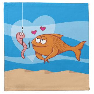 愛の魚そして餌 ナプキンクロス
