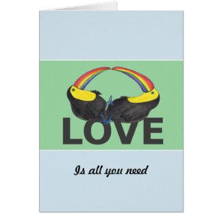 愛はあなたが-かわいいtoucansを必要とするすべてです カード