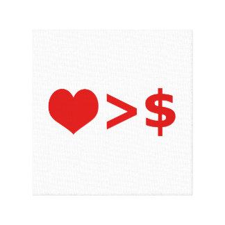 愛はお金の概念より重要です キャンバスプリント