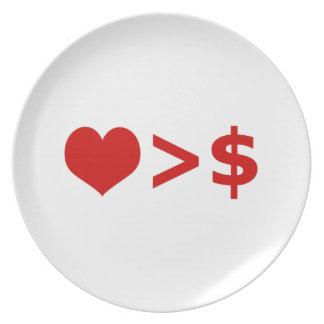 愛はお金の概念より重要です プレート