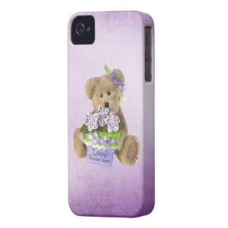 愛はかわいいテディー・ベア及び花ポットのここに咲きます Case-Mate iPhone 4 ケース