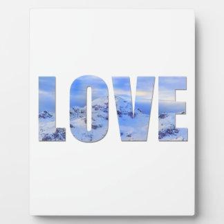 愛はイーゼルが付いている雪の卓上のプラクを好みます フォトプラーク