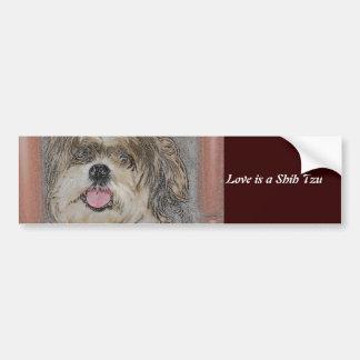 愛はシーズー(犬) TzUです バンパーステッカー