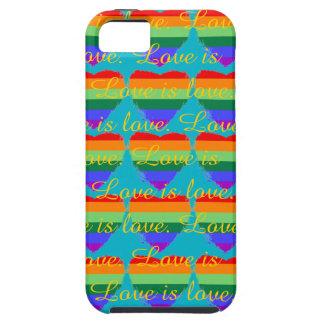 愛はティール(緑がかった色)の愛虹のハートです iPhone SE/5/5s ケース