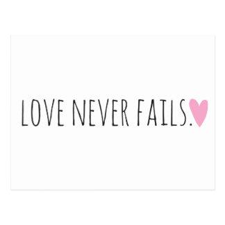 愛はハートと決して失敗しません 葉書き