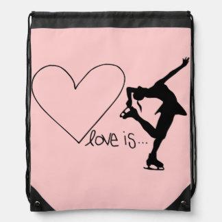 愛はフィギュアスケート、ハート、バックパック、明るいピンクです ナップサック