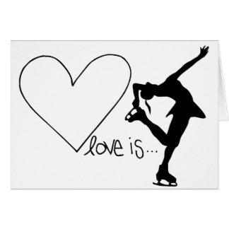 愛はフィギュアスケート、女の子のスケート選手及びハートです カード