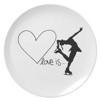 愛はフィギュアスケート、女の子のスケート選手及びハートです ディナープレート