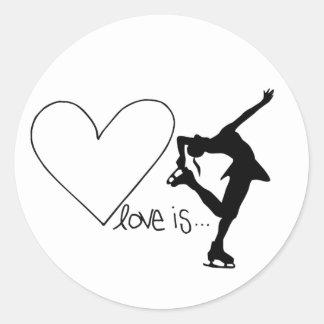 愛はフィギュアスケート、女の子のスケート選手及びハートです ラウンドシール