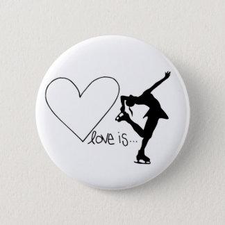 愛はフィギュアスケート、女の子のスケート選手及びハートです 5.7CM 丸型バッジ