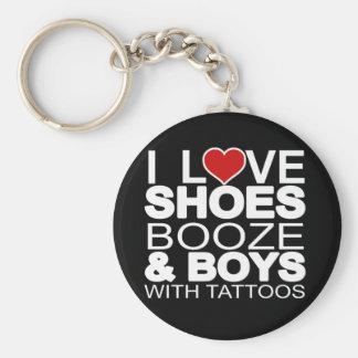 愛は入れ墨を持つ酒宴の男の子に蹄鉄を打ちます ベーシック丸型缶キーホルダー