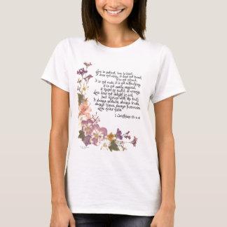 愛は忍耐強いです Tシャツ