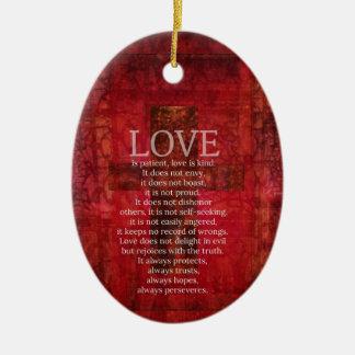 愛は忍耐強い愛です親切な聖書の詩です セラミックオーナメント