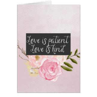 愛は忍耐強い水彩画の花柄です カード