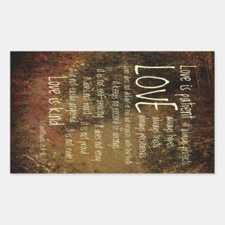 愛は忍耐強い混合物です 長方形シール