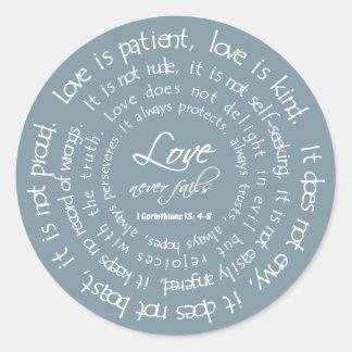 愛は忍耐強く青いキリスト教の結婚式用シールです ラウンドシール