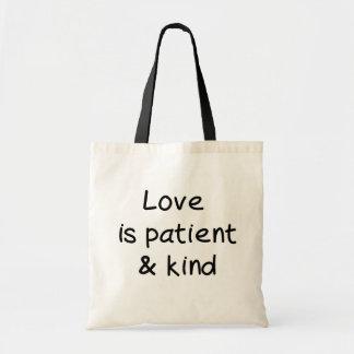 愛は忍耐強く、親切です トートバッグ