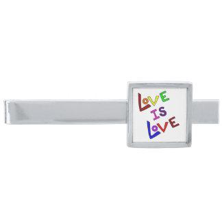 愛は愛(-斜め明白な、シンプル) ~です 銀色 ネクタイピン