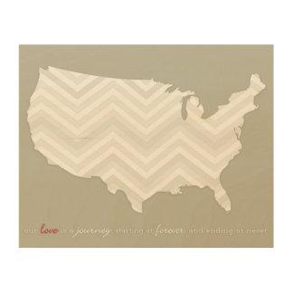 愛は旅行の地図の木製のキャンバス-灰色のシェブロンです ウッドウォールアート