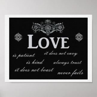 愛は決して失敗しません --- 芸術のプリント ポスター